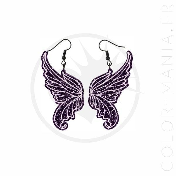 Boucles d'Oreilles Ailes de Fée Violet Pailleté | Color-Mania