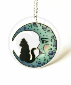 Collana Black Crescent Moon Cat Blu | Color-Mania