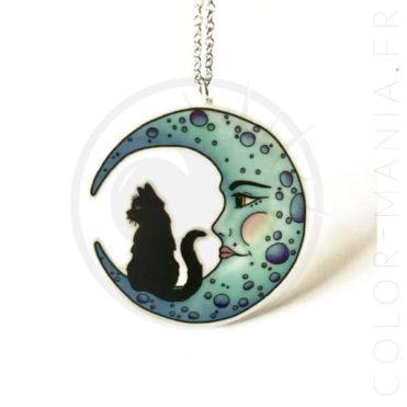 Collar del gato de la media luna negra azul | Color-Mania