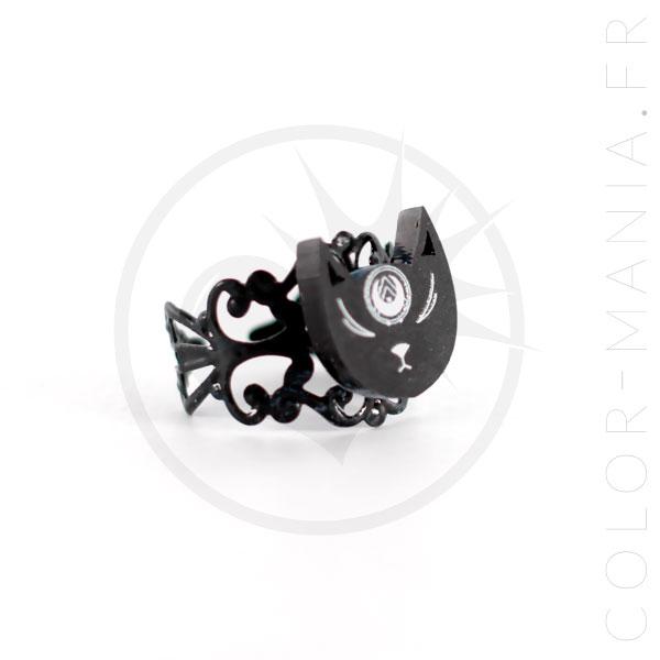 Anillo de cabeza de gato negro místico | Color-Mania