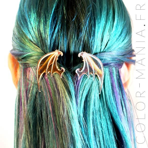 Iridiscente Transparente Dragon Wing Barrettes | Color-Mania