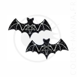 Black Skeleton Bat Barrettes Sequins | Color-Mania