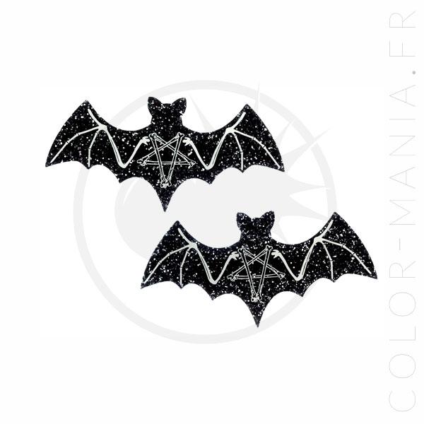 Black Skeleton Bat Barrettes Sequins | Color-Mania