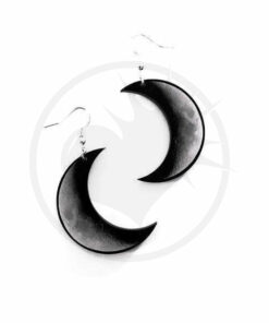 Brincos Crescent Lua Cinza e Preto | Cor-Mania