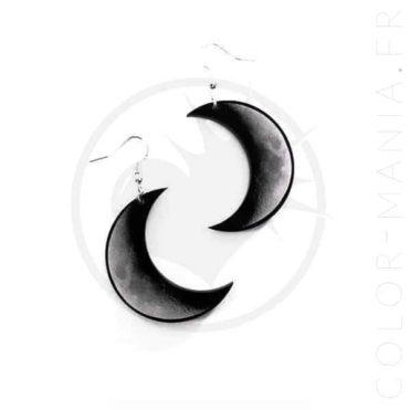 Boucles d'Oreilles Croissant de Lune Gris et Noir   Color-Mania