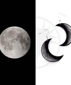 Pendientes Creciente Luna Gris y Negro | Color-Mania
