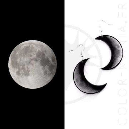 Boucles d'Oreilles Croissant de Lune Gris et Noir | Color-Mania