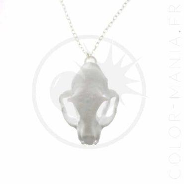 Collier Crâne de Chat Blanc 3D | Color-Mania