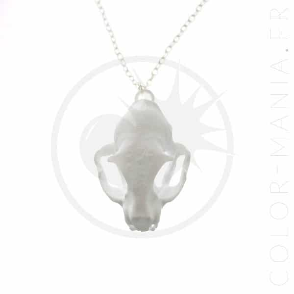 Collier Crâne de Chat Blanc 3D | Color-Mania