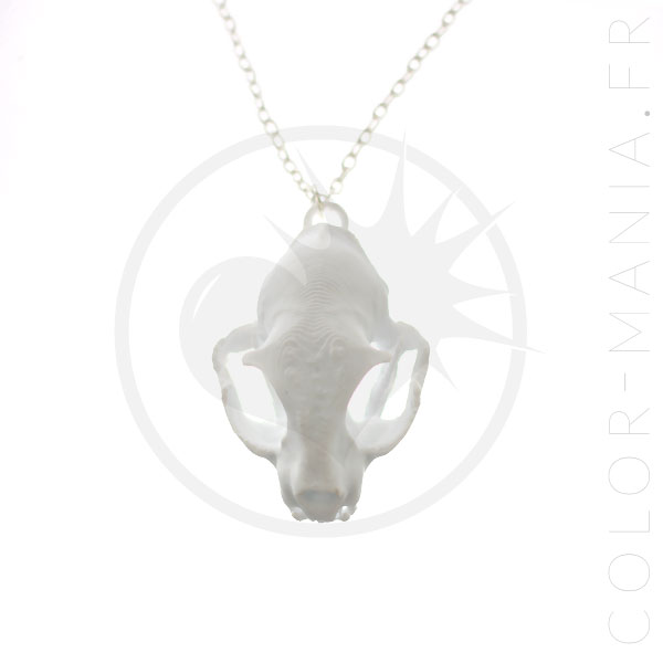 3D White Cat Skull Necklace | Color-Mania