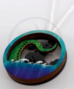 Colar do Diorama do Tentacule do verde azul de <br> Não Perca! Cor-Mania