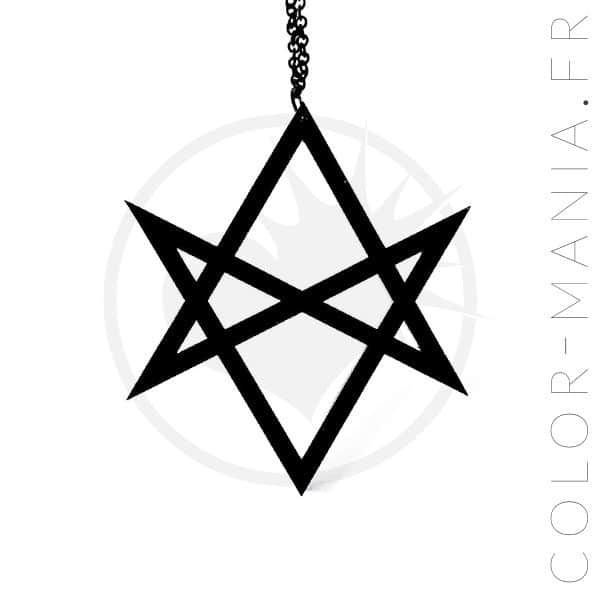 Collier pendentif hexagramme noir