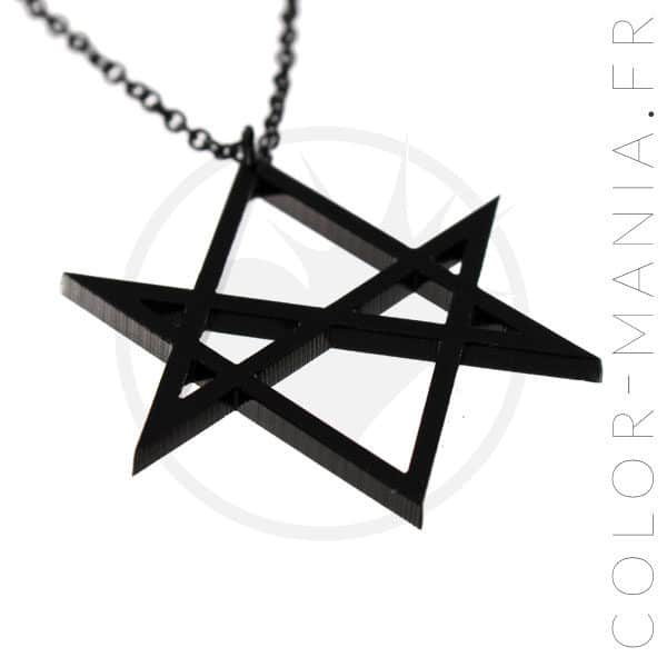Collier pendentif hexagramme noir vue de côté