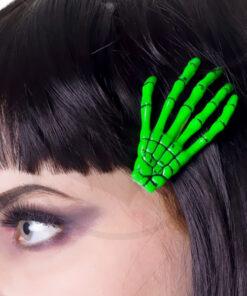Barrette Main de Squelette Vert Fluo - Banned | Color-Mania.fr