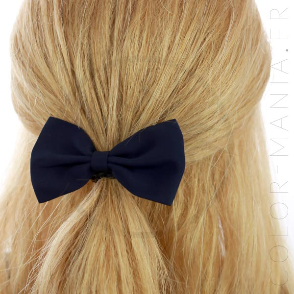 Nœud Cheveux Élastique Bleu Navy   Color-Mania