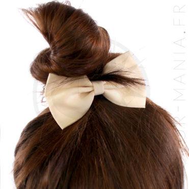 Nœud Cheveux Élastique Ivoire   Color-Mania