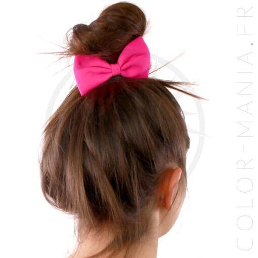 Nœud Cheveux Élastique Rose Fuchsia | Color-Mania