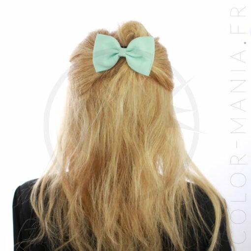 Nœud Cheveux Élastique Vert Menthe | Color-Mania