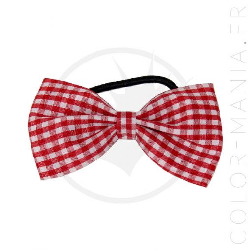 Elastic Hair Bow Gingham Rojo y Blanco | Color-Mania