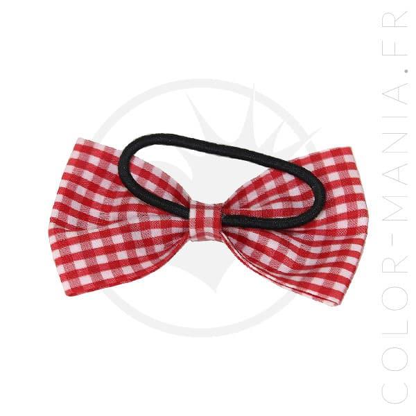 Nœud Cheveux Élastique Vichy Rouge et Blanc | Color-Mania