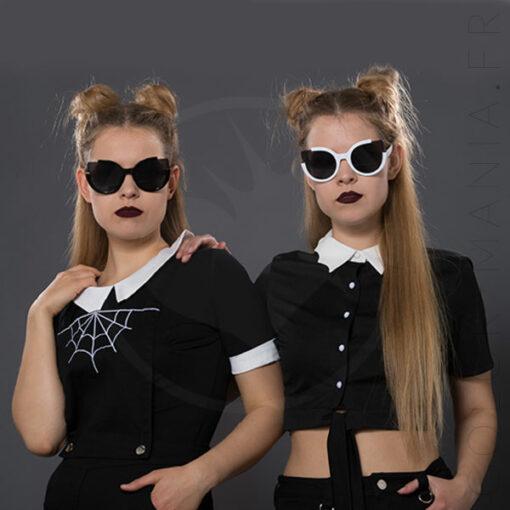 Gafas de sol del triángulo de Giovanna blancas y negras - prohibido | Color-Mania.fr