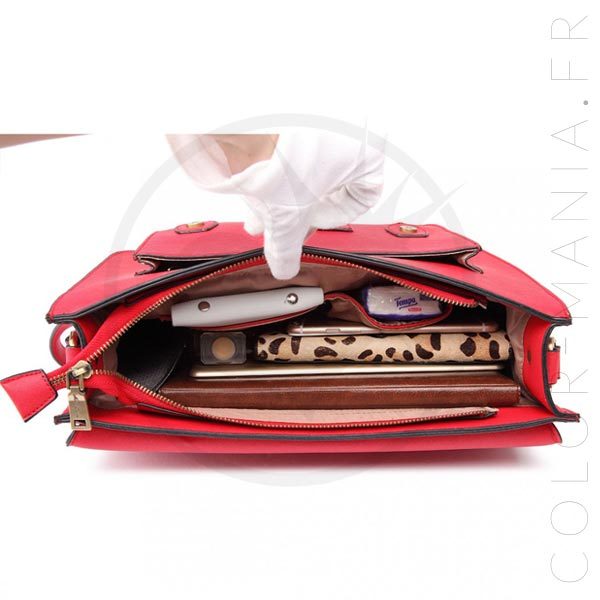 Sac Cartable Satchel Rouge | Color-Mania.fr