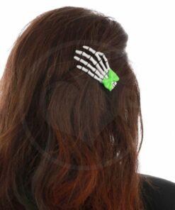 Perilla de mano esqueleto blanco nudo de menta verde - Prohibido | Color-Mania