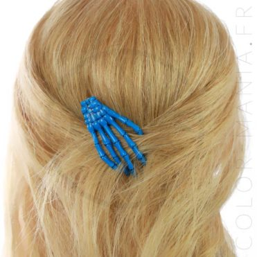 Barrette Main de Squelette Bleue - Banned | Color-Mania