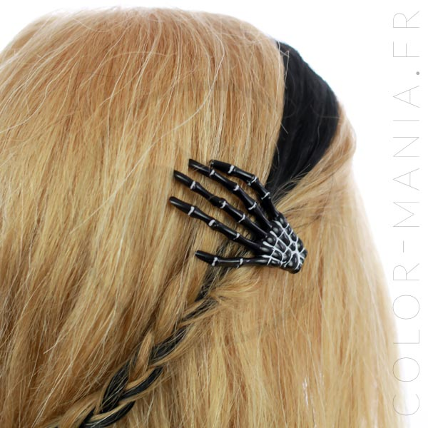 Barrette Main de Squelette Noire - Banned | Color-Mania