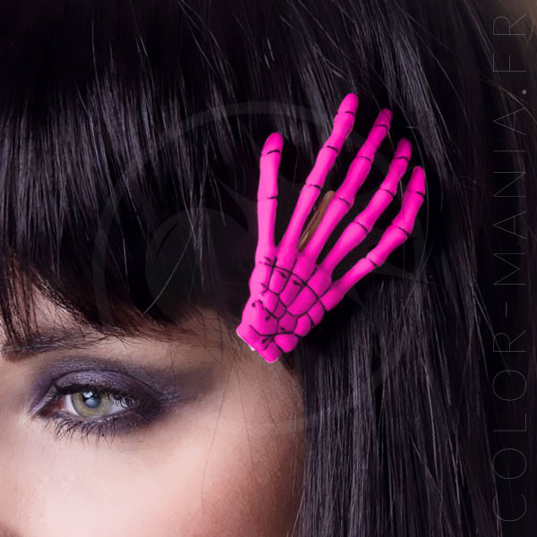 Barrette Main de Squelette Rose Fuchsia - Banned | Color-Mania.fr