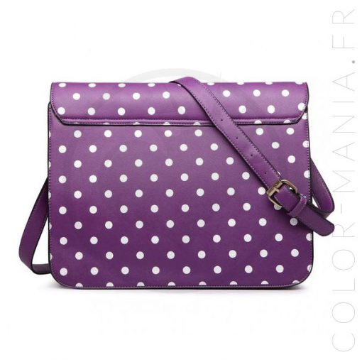 Sac Cartable Satchel Violet à Pois | Color-Mania.fr