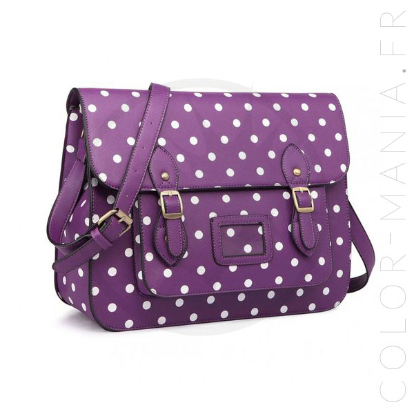 Purple Dot Satchel Schoolbag | Color-Mania.fr