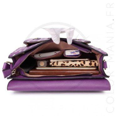Sac Cartable Satchel Violet à Pois | Color-Mania.fr