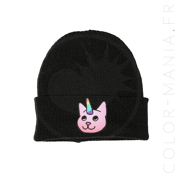 Bonnet Noir Chat-Licorne Rose | Color-Mania.fr