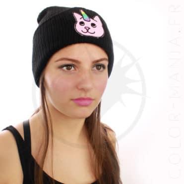 Bonnet Noir Chat-Licorne Rose | Color-Mania