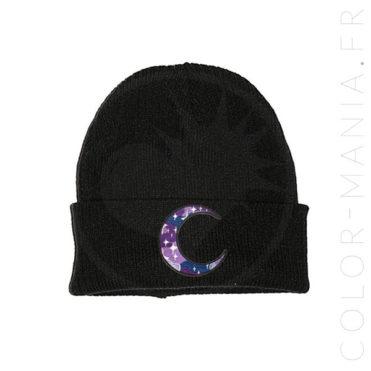 Bonnet Noir Lune Galaxie Violet | Color-Mania.fr