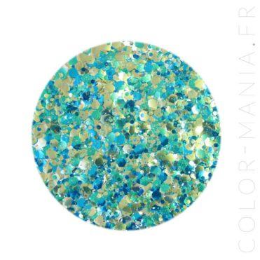 Paillettes Biodégradables Bleu-Vert et Doré Ariel - Luna | Color-Mania.fr