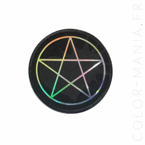 Patch Pentagramme Noir et Holographique | Color-Mania.fr