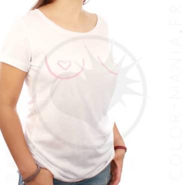"""T-Shirt Blanc """"Free the Nipple"""" Coeur   Color-Mania.fr"""