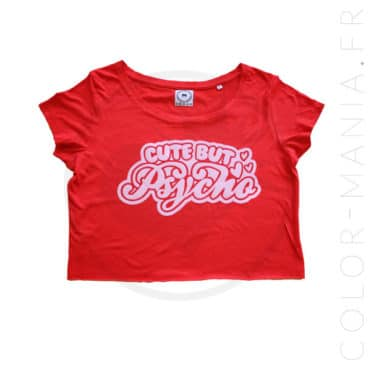 T-Shirt Crop-Top Rouge Cute but Psycho   Color-Mania.fr