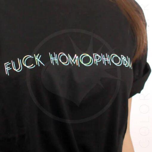 T-Shirt Noir Fuck Homophobia Holographique | Color-Mania.fr