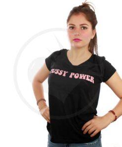 T-Shirt Noir Pussy Power Rose   Color-Mania.fr