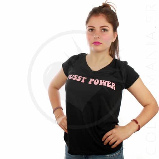 T-Shirt Noir Pussy Power Rose | Color-Mania.fr