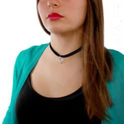 Collar de gargantilla de terciopelo de plata Lotus | Color-Mania.fr