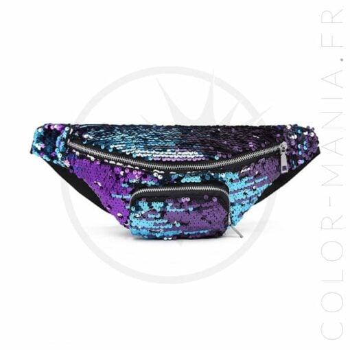 Borsa a banana con paillettes Galaxy blu-viola viola | Color-Mania
