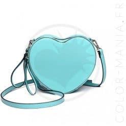 Bolso azul de vinilo corazón | Color-Mania.fr