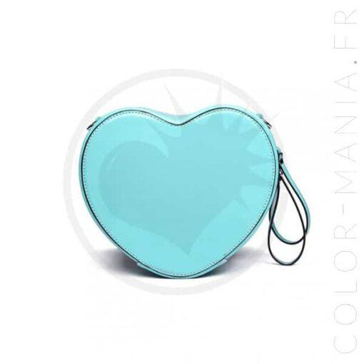 Sac à Main Cœur Bleu Vinyle | Color-Mania.fr