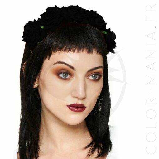 Couronne de Fleurs Roses Noires - Banned | Color-Mania