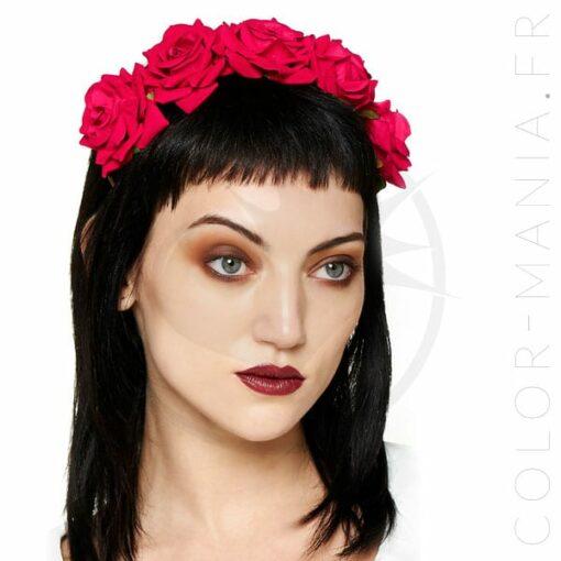 Couronne de Fleurs Roses Rouges - Banned   Color-Mania