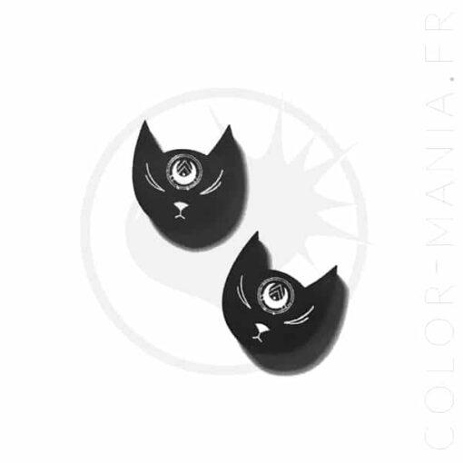 Clous d'Oreilles Têtes de Chat Noir | Color-Mania.fr